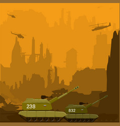 War with howitzers copters tanks and carriers vector