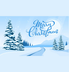 winter landscape with merry cristmas vector image