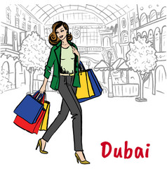 woman in shopping mall vector image