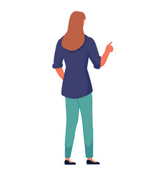 Woman standing back pointing index finger at vector