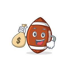 American football character cartoon with money bag vector