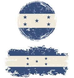 Honduras round and square grunge flags vector image vector image