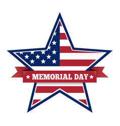 memorial day with star in us national flag colors vector image vector image