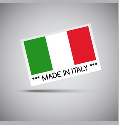 card made in italy with italian flag vector image vector image