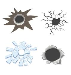 Cracks set broken glass or wall cracked ground vector image