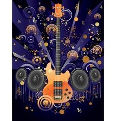 Grunge Guitar and Loudspeakers vector image