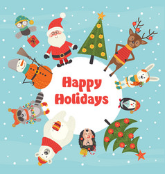 holiday card with christmas characters vector image vector image