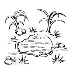 oasis sketch in the desert vector image vector image