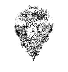 Abstract graphic deer print vector