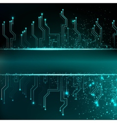 Circuit board background with blue electronics vector image vector image