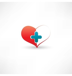 heart and medical cross vector image vector image