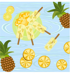 popsicles with berries and fruits vector image