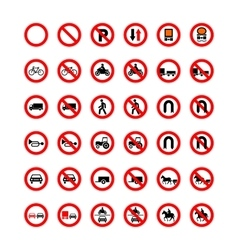 Set of forbidden road signs isolated on white vector image