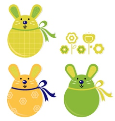 bunny stickers vector image vector image