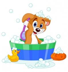 dog having bath vector image