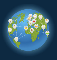 Social connection abstract scheme on globe vector image vector image