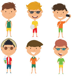 summer male characters vector image