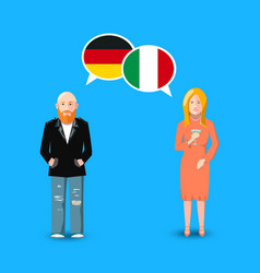 two people with white speech bubbles with germany vector image