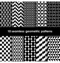 10 geometric black and white seamless patterns set vector image