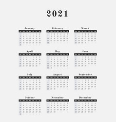 2021 year calendar vertical design vector image