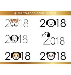 a set of six 2018 logos vector image