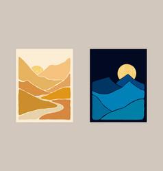 Abstract bohemian art landscape vector