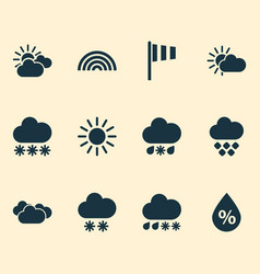 air icons set with drizzle sunny humidity and vector image
