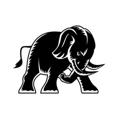 Angry elephant charging attacking side view vector