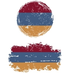 Armenian round and square grunge flags vector