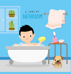 bathroom home boy shower cartoon vector image