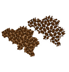 Belgium - map of coffee bean vector