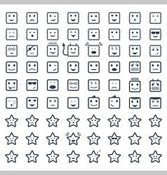 Big set smile icon vector