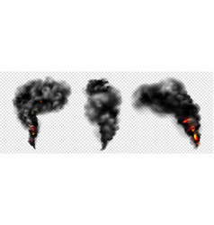 Black smoke with fire dark fog clouds or steam vector