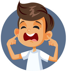 Boy covering ears complaining about loud noise vector