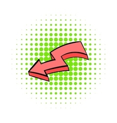 Broken red arrow icon comics style vector
