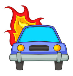 Burning car icon cartoon style vector