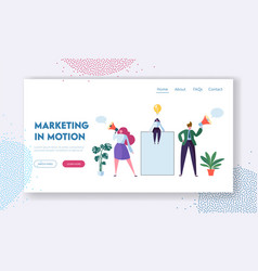 business advertising concept woman on blank banner vector image