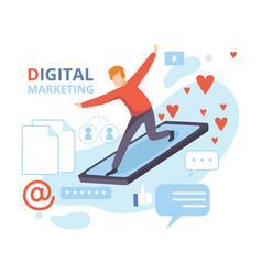 businessman flying on smartphone digital vector image