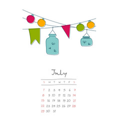 Calendar 2018 months july week starts sunday vector