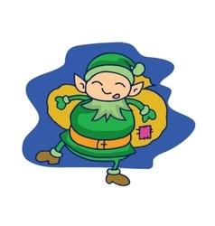 Cartoon elf with gift bag happy vector image