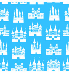 cartoon medieval old castles seamless pattern vector image