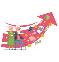 Cartoon senior couple with rising arrow of pension vector