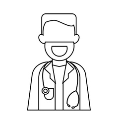 character doctor beard stethoscope health outline vector image