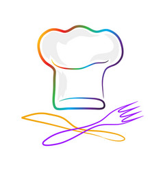 Chef hat silhouette fork and knife isolated set vector