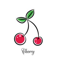 Cherry line doodle icon vector
