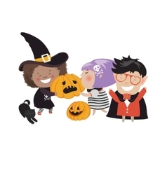 Children trick or treating in Halloween costume vector