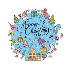Christmas frame template card vector image