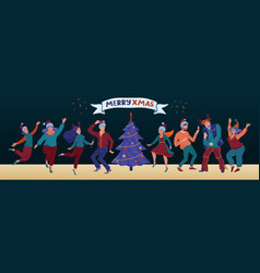 christmas party banner with funny dancing people vector image