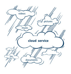 cloud service sketch vector image