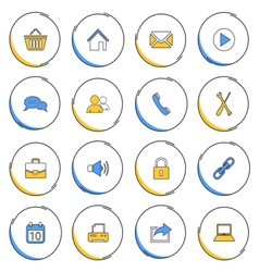 Collection modern circular thin line icons for web vector